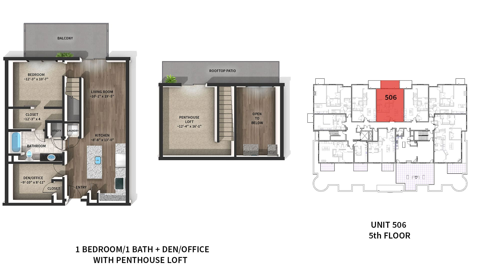 Image of the floor plan for luxury penthouse apartment 506 at West Washington Place in downtown Madison WI.