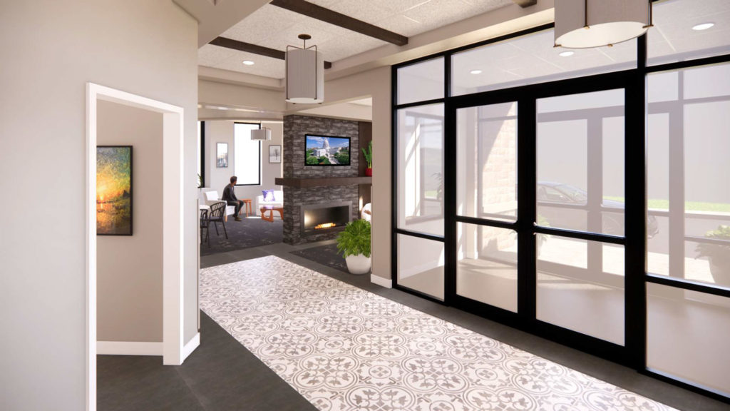 Amenities Lobby Entry Rendering at West Washington Place